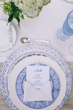 A vintage place setting with blue colored china - blue wedding inspiration