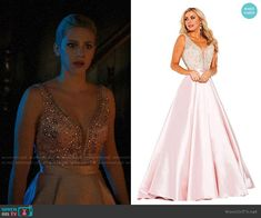 Jovani Gown worn by Betty Cooper (Lili Reinhart) on Riverdale Pink Gowns, Prom Dresses Blue, Pink Dress, Evening Dresses, Betty Cooper Style, Betty Cooper Outfits, Tv Show Outfits, Girl Outfits, Faux Fur Cropped Jacket