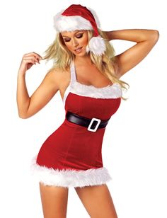 Womens Deluxe Red Velvet Style Santa Tie Front Teddy Holiday Fancy Dress Costume