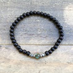 "Ebony and African Turquoise ""Strength and Change"" Unisex Bracelet"