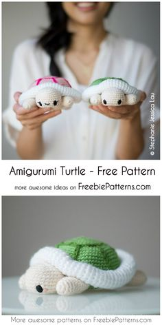 Sweet Amigurumi Turtle - Free Chrochet Pattern Are you looking for an idea for a great gift for a child? Create your own amigurumi turtle! Crochet Gratis, Crochet Diy, Crochet Patterns Amigurumi, Crochet For Kids, Crochet Dolls, Amigurumi Toys, Crochet Mignon, Crochet Animal Patterns, Afghan Patterns
