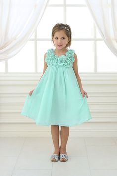 Aqua+Mint+Chiffon+Short+Flower+Girl+Dress+CA-C611-AM2+on+www.GirlsDressLine.Com