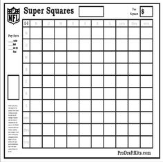 super bowl squares fantasy football weekly party game tailgating nfl office pool