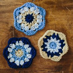 Vintage Flowered Hexagon & Pentagon, free pattern by The Firefly Hook