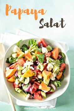 einfacher Papaya Salat - Stardust and Pantries Papaya Salat, Healthy Salads, Easy Healthy Recipes, Papaya Recipes Dessert, Superfood, Papaya Health Benefits, Us Foods, Food Inspiration, Salads