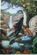 African American art female angel with black panther