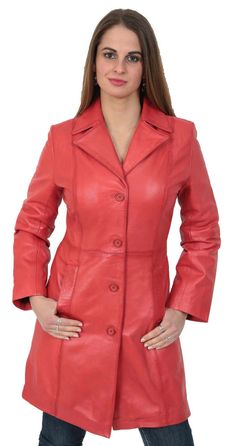 Ladies fitted real leather coat made from soft italian sheep aniline leather. This coat features two side pockets, lapel collar, front four buttons fastening and inside fully lined. 100% Real Leather. | eBay!