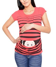 This Coral Stripe Peekaboo Maternity Tee - Women is perfect! #zulilyfinds
