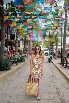 Sayulita Mexico Main Street: Mara Hoffman dress.