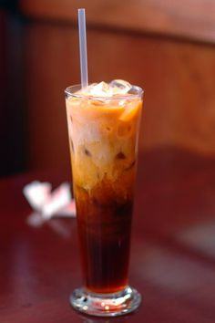 Thai Iced Tea easy DIY. Tai tea, cream, condensed milk, sugar, water, vanilla.
