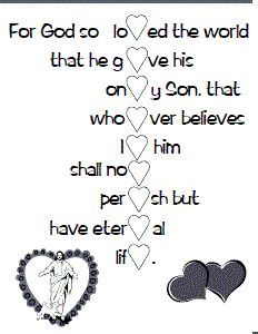 Printable verse activity sheet - spells Valentine when finished.