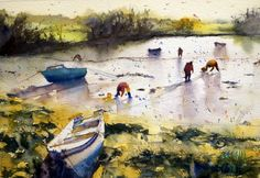 Watercolor seasidescape featuring some people searching for shells at low tide