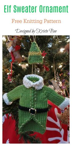Elf Sweater Ornament Free Knitting Pattern #freeknittingpattern #ornament #christmas