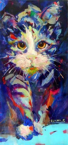 """Daily Paintworks - """"Blue Cat"""" - Original Fine Art for Sale - © Eunmi Conacher"""