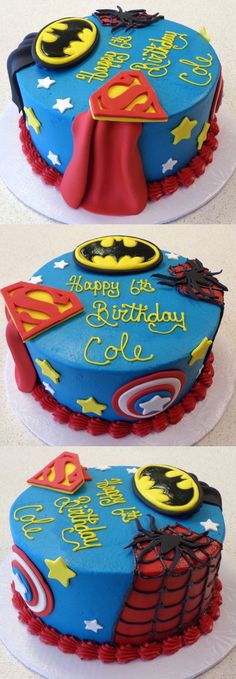 Villains wouldn t stand a chance against this superhero cake Superman Batman Spider-Man and Captain America Villains wouldn t stand a chance against this superhero cake Superman Batman Spider-Man and Captain America Gaby Klimanek Torten nbsp hellip Avengers Birthday, Superhero Birthday Party, Boy Birthday, Cake Birthday, Birthday Ideas, Superman Birthday Cakes, Captain America Birthday Cake, Captain America Cake, Happy Birthday