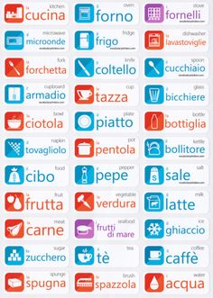 Italian Language Stickers http://vocabularystickers.com                                                                                                                                                     Más