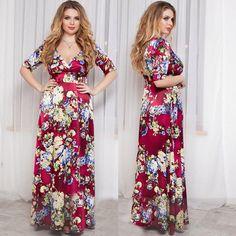 Chiffon Short Sleeve Dress women V-Neck Beach style Office dresses plus size women clothing Floor-Length 4XL 5XL