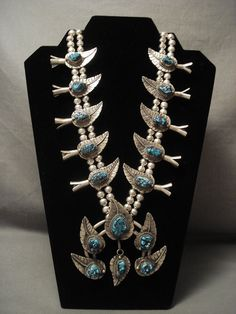 Museum Quality Vintage Silver Turquoise Forest Squash Blossom Necklace
