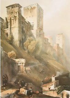 """""""Torre de Comares en La Alhambra"""" by David Roberts (1796 – 1864)"""