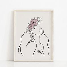 woman gardening garden plant, ORIGINAL pencil sketch modern minimal minimalist bohemian art small art and collectibles pencil drawing