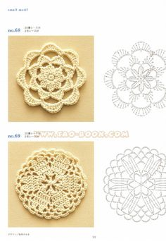 Crochet and arts: Ondori motif edging designs arts and craft books: motif & edging designs magazine, free crochet books - crafts ideas - crafts for kids Ondori motiv - 33 na Stylowi. love the bottom motif - similar to my old coasters Dream and Do It Yours Crochet Circles, Crochet Doily Patterns, Crochet Diagram, Crochet Chart, Crochet Squares, Love Crochet, Irish Crochet, Diy Crochet, Crochet Doilies