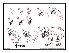 Super simple how to draw a t-rex instructions for kids! Watch our short video and download the free printable.