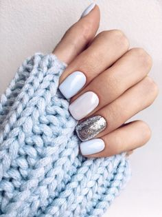 Cute nails art trend. Beautiful, simple, elegant nail art design. Baby blue, white, silver Black Nails, Yellow Nails, Silver Nails, Silver Glitter, Blue And White Nails, Grey Nail Designs, Winter Nail Designs, Gel Nail Art Designs, Elegant Nail Designs