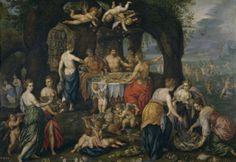 """Hendrik de Clerck, """"Banquete de Aqueloo"""", ca. 1610, óleo sobre lámina de cobre, 36 x 51 cm"""