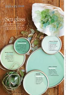 Sea Glass Inspired Decor…Bringing the Beach Indoors June 2013 Sara Silver . Home Design, Inspiration . beach bungalow, Beach Decor, paint color, sea glass Mermaid for my room? Celadon, Sea Glass Colors, Aqua Glass, Paint Color Schemes, Color Walls, Better Homes And Gardens, My New Room, Home Design, Interior Design
