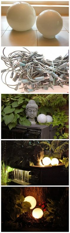 Glowing Outdoor Orbs - I DID THIS AND IT LOOKS SO COOL IN MY FLOWER BED! I USED SOLAR CHRISTMAS LIGHTS.