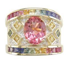 L2421 18KT Tourmaline, Rainbow Sapphire, & Diamond Ring