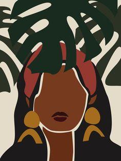 African American Art, African Art, African Abstract Art, African Paintings, Black Art Painting, Female Art, Female Portrait, Black Girl Art, Afro Art