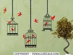 Birdcage Wall Decals Set of 3 Style 2