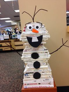 One of our reference librarians shared with me a picture of a snowman book stack she saw...