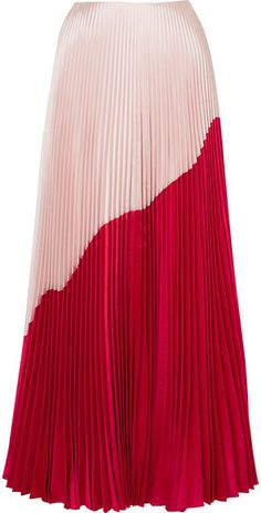 Reem Acra - Two-tone Pleated Silk And Wool-blend Taffeta Maxi Skirt - Red Long Skirt Fashion, Modest Fashion, Fashion Outfits, Red Skirts, Cute Skirts, Pleated Skirt, Dress Skirt, Latest African Fashion Dresses, Vogue