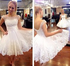 White Homecoming Dress Cap Sleeves Short Prom Dresses With Pearls pst0848