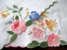 Antique Hand Towels | Vintage Hand Towels Appliqued Pink Roses Daffodils Flowers Pair