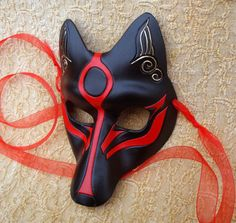 Black Okami Kitsune Mask Japanese Fox Leather Mask