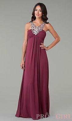 Floor Length Sleeveless Dress at PromGirl.com http://www.unique-vintage.com/2014-prom-dresses-burgundy-chiffon-sequin-prom-dress-p-25447.html