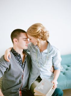 Stylish at home engagement photo Ideas   photography by http://www.lauraivanova.com/   floral design by http://www.munsterrose.com/   styling by http://snowwhiteeffect.com/