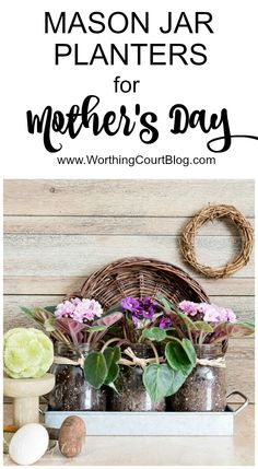 If you're looking for a thoughtful, yet simple and long lasting gift for the mom in your life {or maybe for yourself), I have a great idea for you! Fresh flowers have always been a favorite Mother's Day gift of mine, but sadly they fade quickly and the container is often stashed away in a closet, never to be used again. I came up with a solution for that challenge though, plus I'll get double duty out of the container. I found an adorable set of mason jars, that comes nestled in a galvanized…