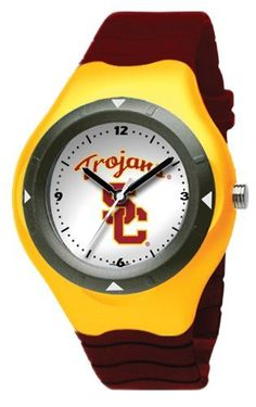 USC Trojans Prospect Watch by Logo Art. $25.00. Plastic resin case and stainless steel screw back with polyurethane rubber strap; Limited lifetime warranty; Case is 1 5/8-Inch wide, dial diameter 1-Inch; Miyota quartz movement (377 battery); Officially licensed team logo youth size watch. NCAA USC Trojans Prospect Watch