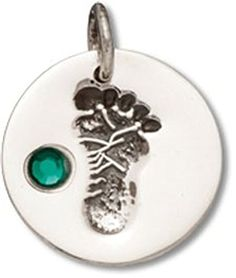 Sterling Silver Round Green Mother's Women's May Colored Crystal Birth Month Baby Footprint Charm * Check this awesome product by going to the link at the image.