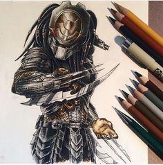 Wolf Predator, Alien Vs Predator, Predator Tattoo, Predator Cosplay, Alien Drawings, Airbrush Designs, Alien Concept Art, Aliens Movie, Alien Art