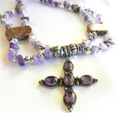 Silver and Amethyst Cross Pendant on Multi Strand Beaded Necklace | craftsofthepast - Jewelry on ArtFire @Anna Garner