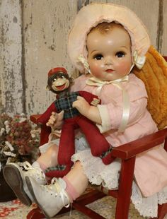 "Huge 28"" Antique Old Vintage Composition, Cloth  Ideal Sister / Brother Coos"