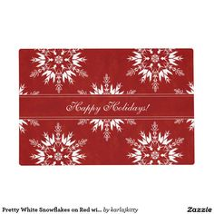 Pretty White Snowflakes on Red with Ribbon Placemat
