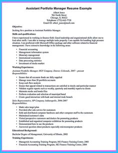 Property Management Resume Finance Resume Objective Statements Examples  Http