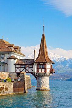At the Oberhofen Castle in Switzerland.