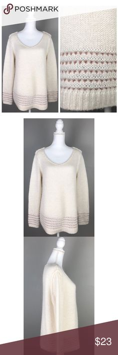 """{Lauren Conrad} Fuzzy Tunic Sweater Copper Ivory In EXCELLENT condition!! No visible flaws!  { LC Lauren Conrad Womens Large Fuzzy V-Neck Long Sleeve Tunic Sweater Copper Off White }  The sweater is an off white / slight ivory color with metallic copper. Picturesare part of the description.  95% Acrylic, 5 % Other- Machine wash  {Measurements taken flat without stretching} Armpit to armpit approx.21.5""""  Length approx.28"""" FAST SHIPPING!Usually ships same or next business day!! {Seller's…"""